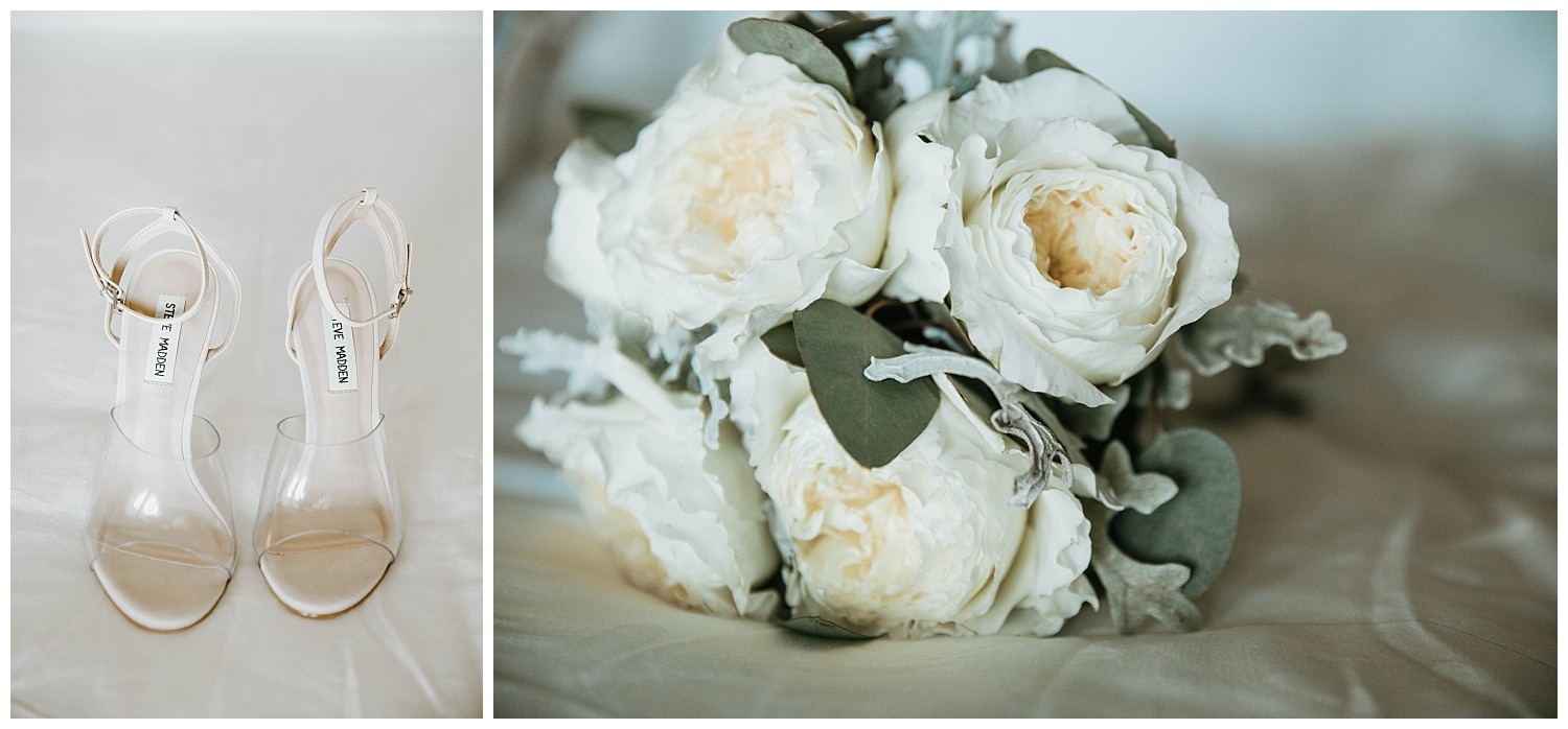 bridal bouquet and wedding shoes