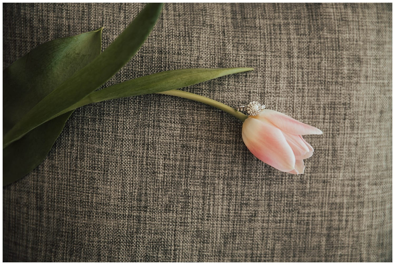 wedding ring on tulip