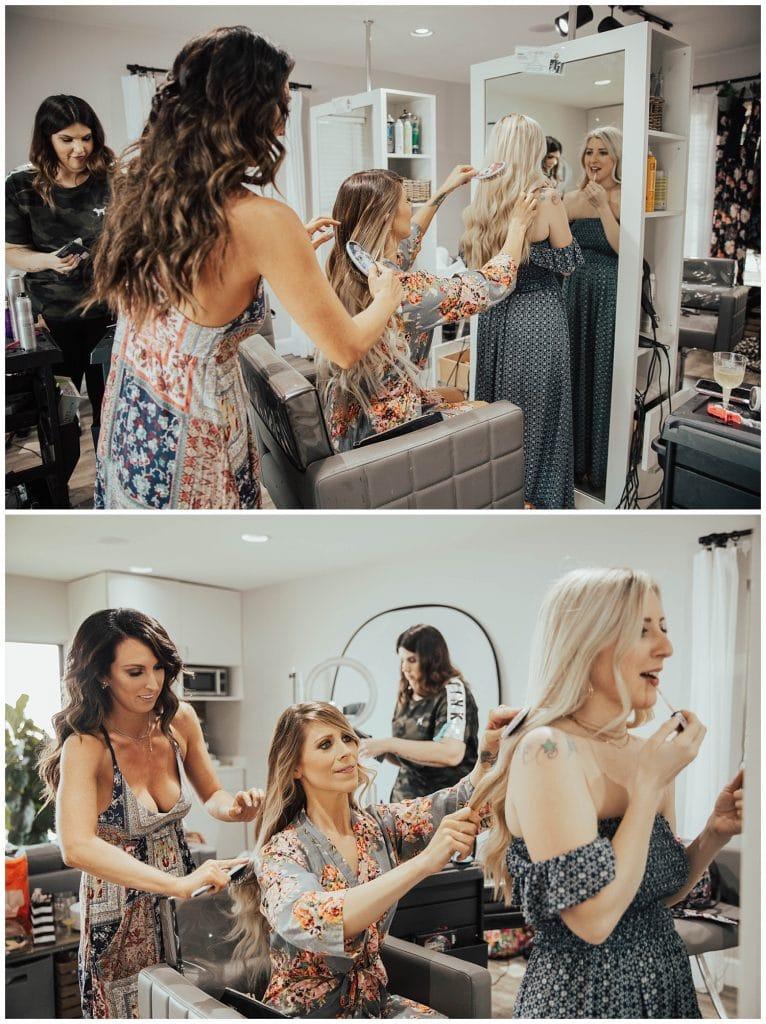 brushing bride's hair