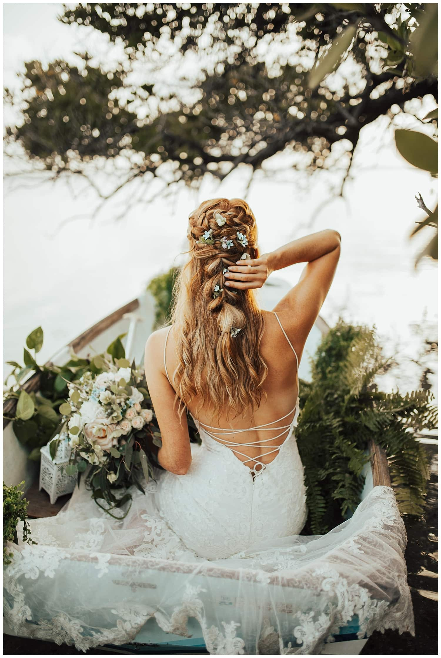 wedding braids with flowers