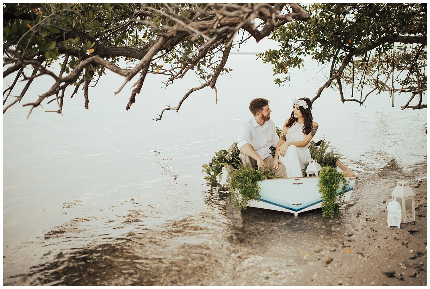 dinghy boat engagement photos