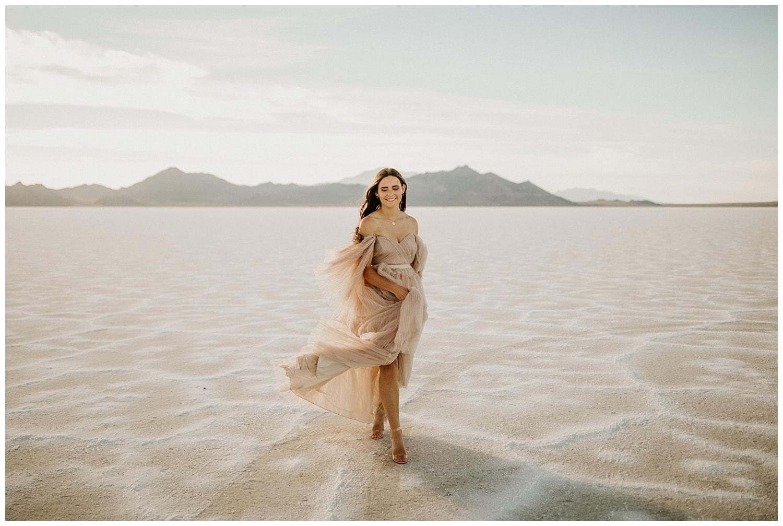 bonneville salt flats elopement, salt flats wedding, photographers in utah, utah wedding photographers, blush wedding dress, ruffled wedding dress