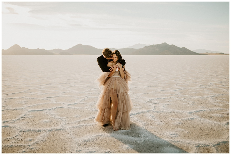 blush wedding dress, bonneville salt flats elopement, utah wedding photographer, photographers in salt lake city, wedding dress ruffles