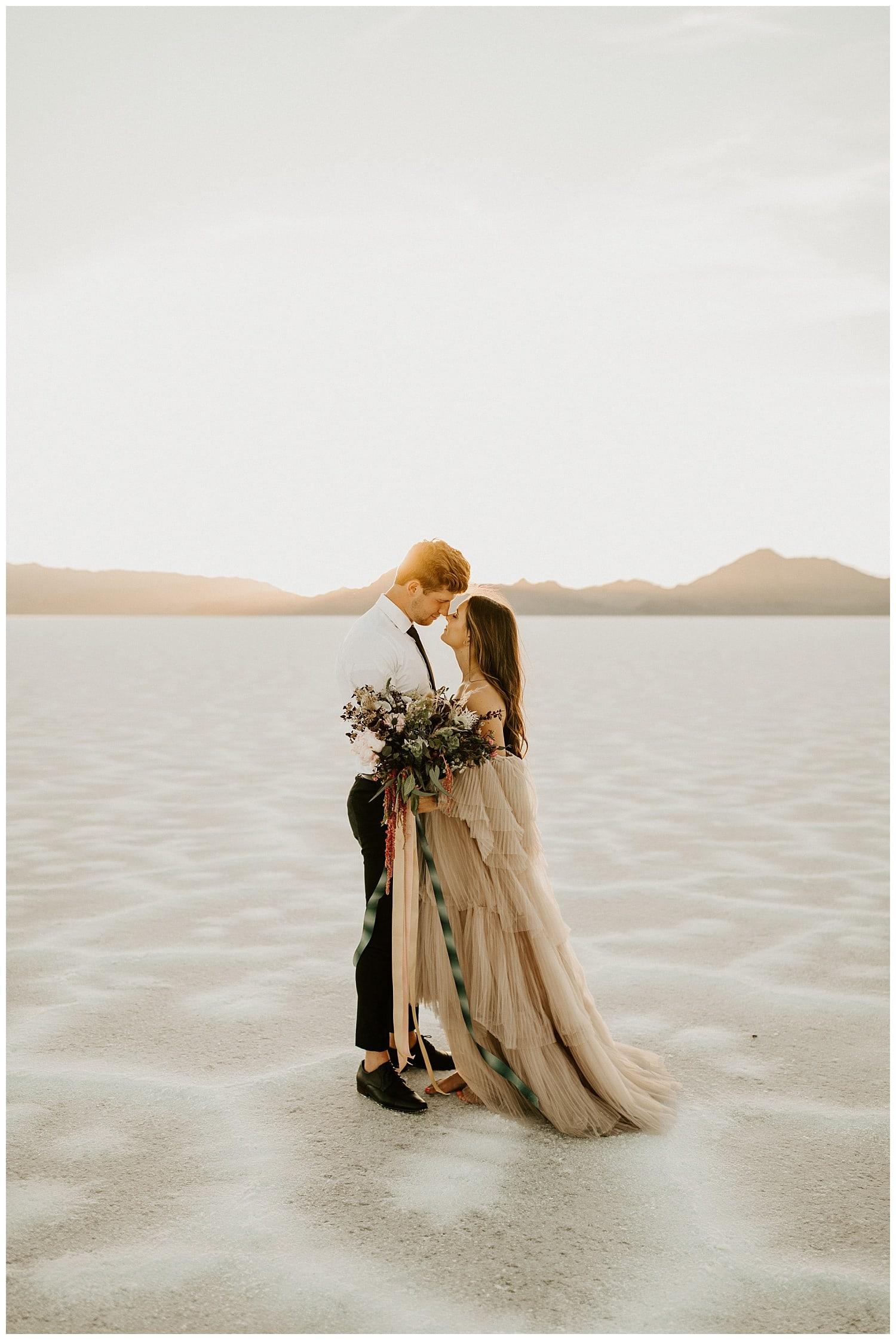 bonneville salt flats elopement, salt flats photography, wedding photographers in utah, salt flats sunset