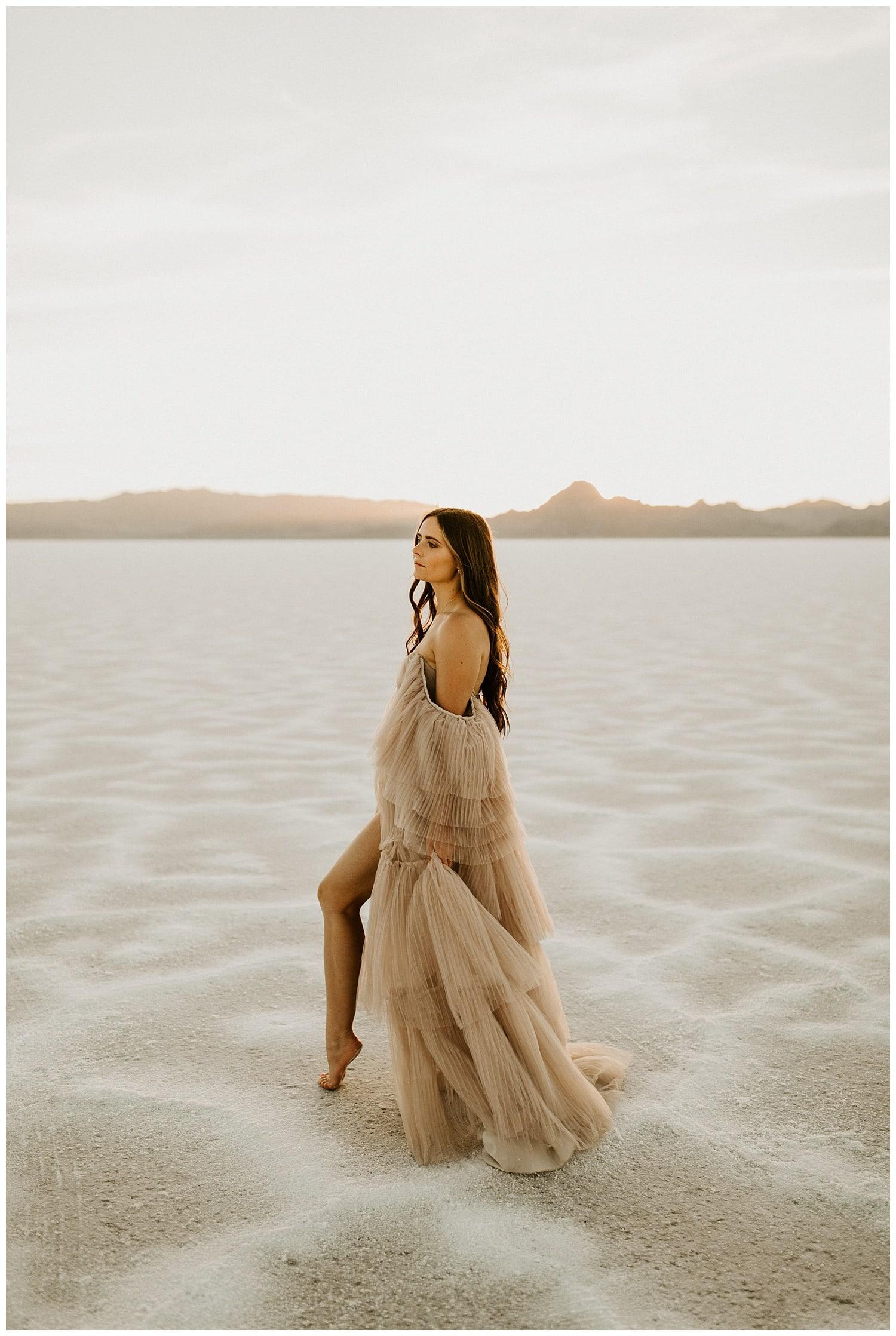 blush wedding dress, photography salt lake city, utah photographers, bonneville salt flats wedding