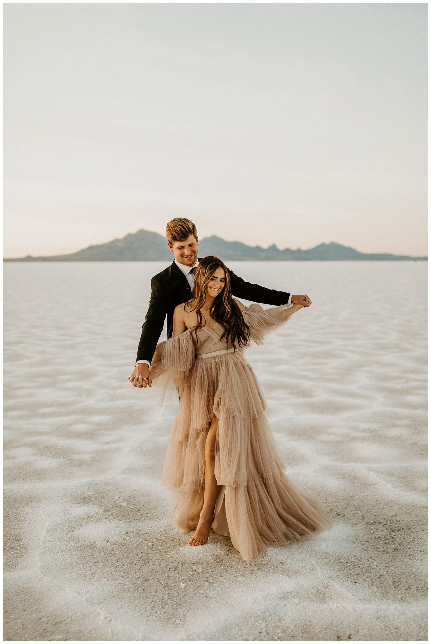 blush wedding dress, bonneville salt flats elopement, photographers in salt lake city, utah wedding photographers